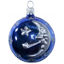 "Blue Moon & Stars Ball Ornament ~ Czech Republic ~ 2-1/2"" tall"