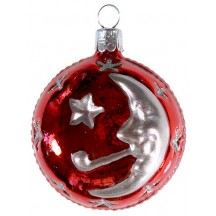 "Red Moon & Stars Ball Ornament ~ Czech Republic ~ 2-1/2"" tall"