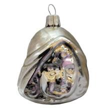 "Shiny Silver Blown Glass Dutch Girl Ornament ~ Czech Repub. ~ 2-1/2"" tall"