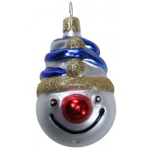 "Jolly Blown Glass Snowman Head ~ Czech Repub. ~ 2-3/4"" long"