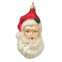 "Large Blown Glass Santa Head with Holly ~ Czech Repub. ~ 3-3/4"" long"