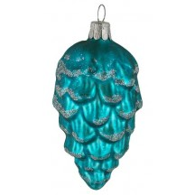 "Matte Deep Turquoise Pine Cone with Open Scales ~ Czech Republic ~ 3-1/2"" long"