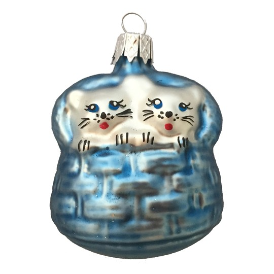 "Light Blue Blown Glass Cats in Basket ~ Czech Republic ~ 2-1/4"" tall"