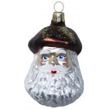 "Blown Glass Brown Mushroom Santa Ornament ~ Czech Repub. ~ 3"" long"
