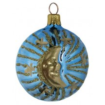 "Sky Blue Celestial Sun and Moon Ball Ornament ~ Czech Republic ~ 2-1/4"" tall"