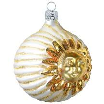 "Large Ivory Celestial Sun Ball Ornament ~ Czech Republic ~ 2-1/2"" tall"