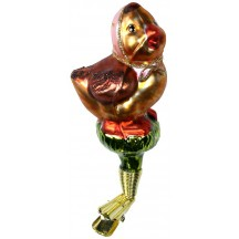 "Babushka Chick Clipping Blown Glass Ornament ~ Czech Republic ~ 3-3/4"" tall"