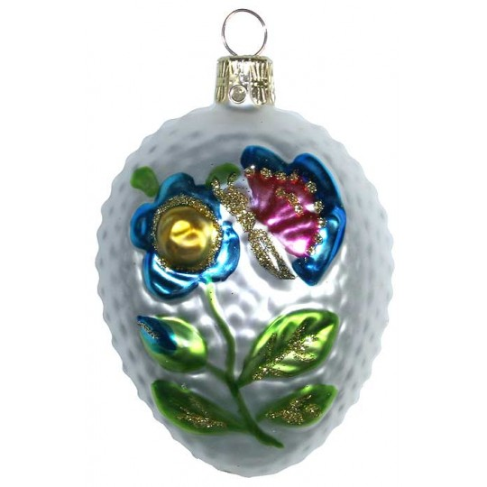 "Floral Butterfly Egg Blown Glass Ornament ~ Czech Republic ~ 3"" tall"