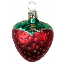 "Matte Red Strawberry Ornament ~ Czech Republic ~ 2"" long"