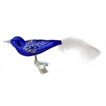 "Glossy Blue Blown Glass Clipping Bird Ornament ~ Czech Republic ~ 6"" long"