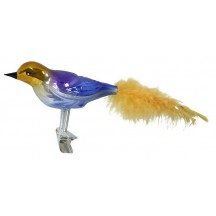 "Large Gold and Blue Ombre Blown Glass Bird ~ Czech Republic ~ 7"" long"