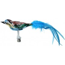 "Large Green, Blue and Brown Blown Glass Bird ~ Czech Republic ~ 9"" long"