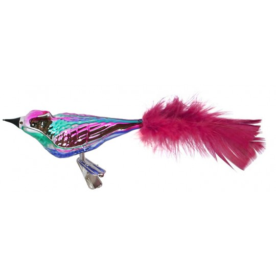 "Large Pink, Green and Blue Blown Glass Bird ~ Czech Republic ~ 7"" long"