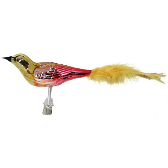 """Large Gold and Red Ombre Blown Glass Bird ~ Czech Republic ~ 7"""" long"""