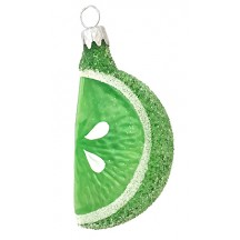 "Translucent Clear Glass Lime Slice Ornament ~ Czech Republic ~ 2-1/2"" long"