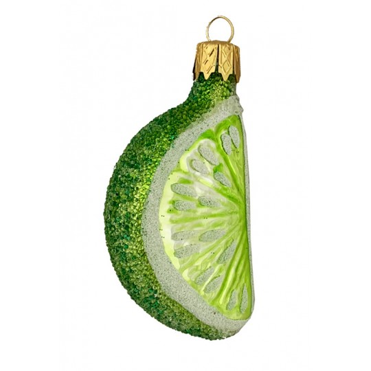 "Sugared Lime Slice Ornament ~ Czech Republic ~ 2-1/2"" long"