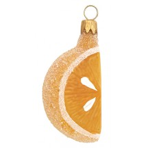 "Translucent Clear Glass Citrus Slice Ornament ~ Czech Republic ~ 2-1/2"" long"