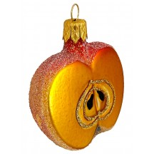 "Red-Orange Sugared Apple Ornament ~ Czech Republic ~ 2-1/2"" long"