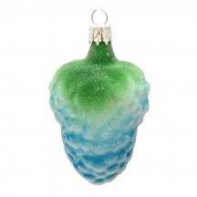 "Blue Grapes Blown Glass Ornament ~ Czech Republic ~ 3"" long"