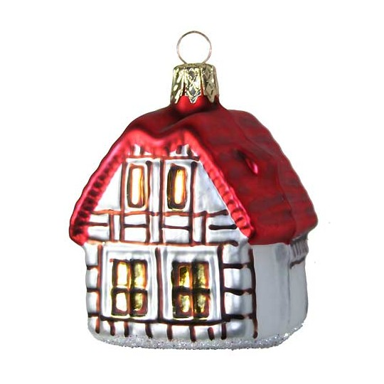 "Half-Timbered House Glass Ornament ~ Czech Republic ~ 2-1/2"" tall"