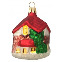 "Red Roof House Ornament ~ Czech Republic ~ 2-1/2"" tall"