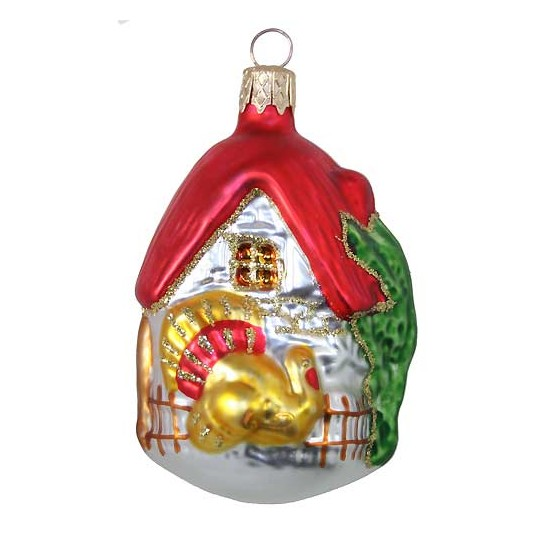 "Red Turkey Cottage Ornament ~ Czech Republic ~ 3"" tall"