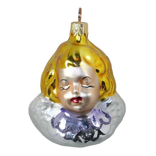 "Blonde Angel Head Blown Glass Ornament ~ Czech Republic ~ 3-1/4"" tall"