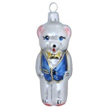 "Bear with Blue Vest Glass Ornament ~ Czech Republic ~ 2-3/4"" tall"
