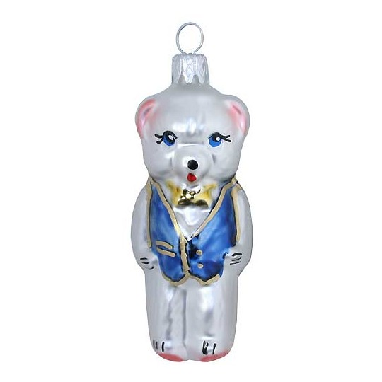 "Bear with Blue Vest Glass Ornament ~ Czech Republic ~ 2-3/4"" tall"