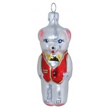 "Bear with Red Vest Glass Ornament ~ Czech Republic ~ 2-3/4"" tall"