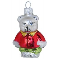 """Bear with Red Jacket Glass Ornament ~ Czech Republic ~ 2-5/8"""" tall"""