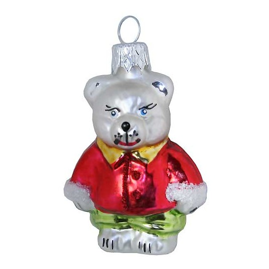 "Bear with Red Jacket Glass Ornament ~ Czech Republic ~ 2-5/8"" tall"