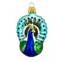"Blown Glass Peacock Ornament ~ Czech Republic ~ 2-1/2"" tall"