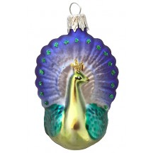 "Blown Glass Matte Peacock Ornament ~ Czech Republic ~ 2-1/2"" tall"