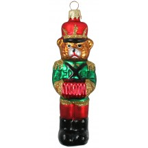 "Musician Bear with Accordion and Green Jacket Glass Ornament ~ Czech Republic ~ 5"" tall"