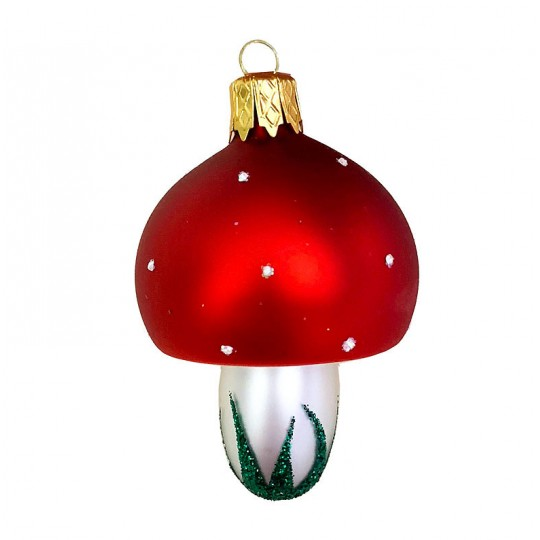 "Classic Blown Glass Mushroom Ornament ~ Czech Repub. ~ 2-1/2"" tall"