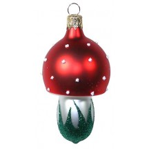 "Classic Blown Glass Mushroom Ornament ~ Czech Repub. ~ 3"" tall"
