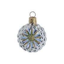 "Petite Silver and Pale Blue Fantasy Flower Ornament ~ Czech Republic ~ 1-3/4"" tall"