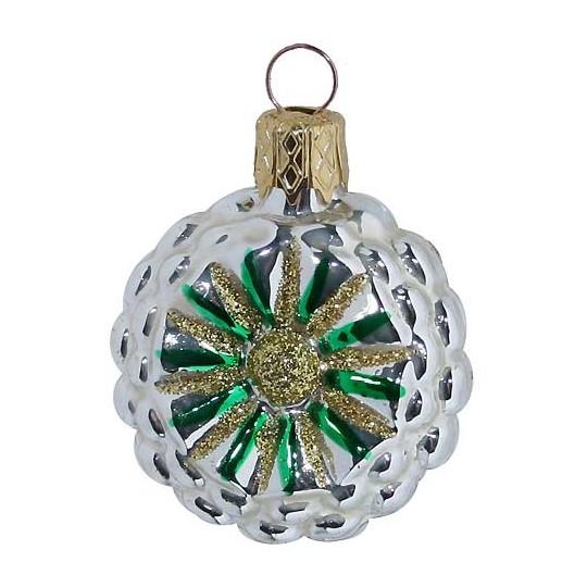 "Petite Silver and Green Fantasy Flower Ornament ~ Czech Republic ~ 1-3/4"" tall"