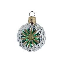 "Petite Silver and Green Fantasy Flower Ornament ~ Czech Republic ~ 1-3/4"" tall"