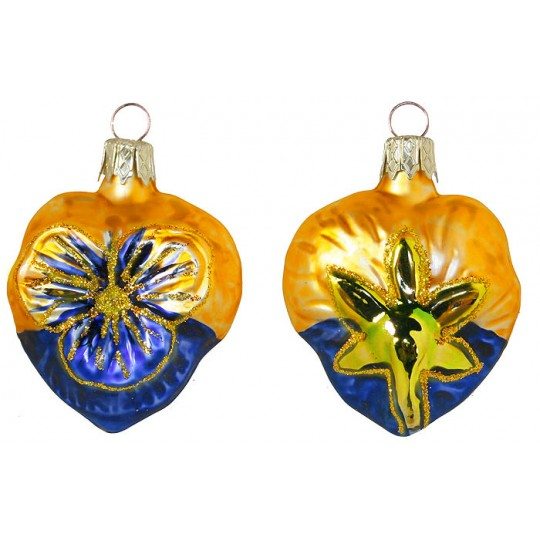 "Petite Blown Glass Blue and Goldenrod Pansy Ornament ~ Czech Republic ~ 2"" tall"