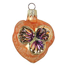 "Petite Blown Glass Orange Pansy Ornament ~ Czech Republic ~ 2"" tall"