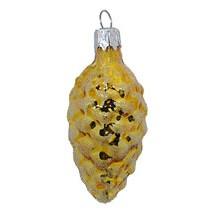 "Petite Shiny Gold Pine Cone Ornament ~ Czech Republic ~ 2-3/8"" long"