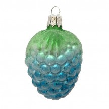 "Blue Berry Blown Glass Ornament ~ Czech Republic ~ 2-1/4"" long"