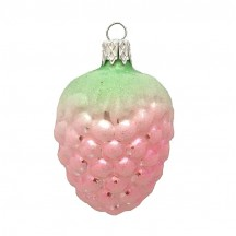 "Light Pink Berry Blown Glass Ornament ~ Czech Republic ~ 2-1/4"" long"