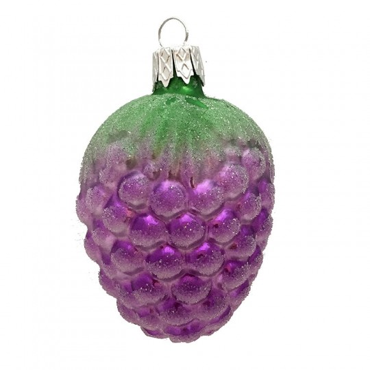 "Purple Berry Blown Glass Ornament ~ Czech Republic ~ 2-1/4"" long"