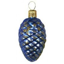 "Matte Blue Petite Pine Cone Ornament ~ Czech Republic ~ 2-1/2"" long"