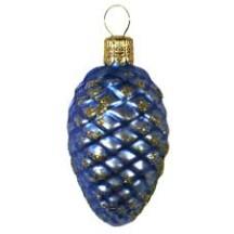 "Matte Blue Petite Pine Cone Ornament ~ Czech Republic ~ 2-1/2"" long"