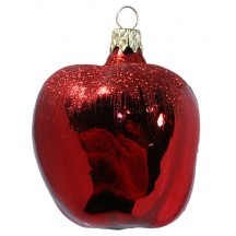 "Large Deep Red Apple Ornament ~ Czech Republic ~ 3"" long"