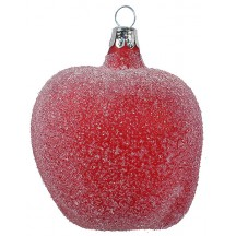 "Large Red Sugared Apple Ornament ~ Czech Republic ~ 3"" long"